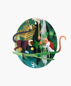 Karton Dzsungel majmok | 3d dekor papirjatekminiart