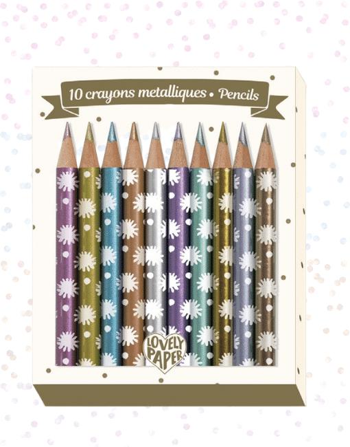 djeco Mini metálszínű ceruza, 10 szín - 10 Chichi mini metalic pencils miniart