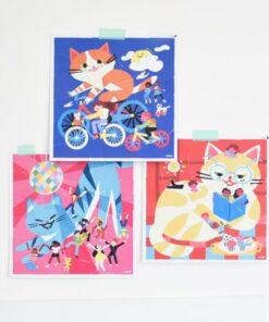 Kreatív, fejlesztő 3 db illusztrált kártya, 105 puzzle matricával - Cicák   Poppik miniart