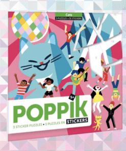 Kreatív, fejlesztő 3 db illusztrált kártya, 105 puzzle matricával - Cicák   Poppik miniart matricás posztet