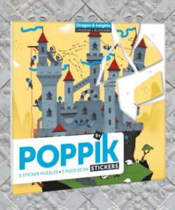 Kreatív, fejlesztő 3 db illusztrált kártya, 105 puzzle matricával - Lovagok és sárkányok | Poppik miniart