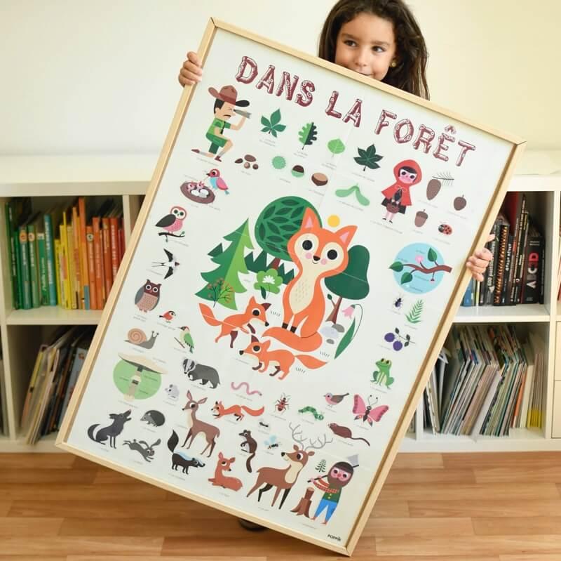 Kreatív, fejlesztő óriásplakát, 60 matricával - Erdő | Poppik MINIARTmatricás posztet