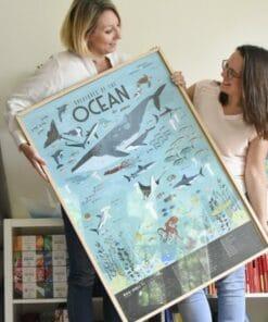 Kreatív, fejlesztő óriásplakát, 59 matricával - Óceán | Poppik miniart matricás posztet