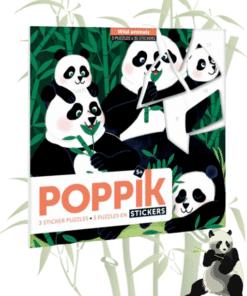 Kreatív, fejlesztő 3 db illusztrált kártya, 105 puzzle matricával - Vadállatok | Poppik miniart